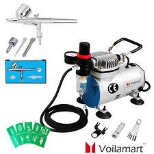 Voilamart Air Brush Compressor 0.2mm Gravity Spray Gun Tattoo Art Airbrush Set