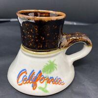 Vintage California Ceramic No Spill Coffee Mug Cup Travel Souvenir Palm Trees