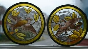 2 handpainted bird roundels for leaded light stained glass window / door. A1197d