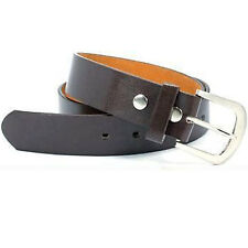 "Snap On Brown Leather Belt With Removable Silver Buckle - Size M 33""-37"""