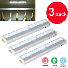 3 Pack 10 LED Motion Sensor Closet Light Night Cabinet Battery Powered Strip USA