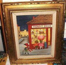 "EADIE ""CANDY SHOP"" ORIGINAL ACRYLIC ON CANVAS FOLK PAINTING"