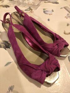 M&S Portfolio Peep Toe Wedge Sandal Size 9