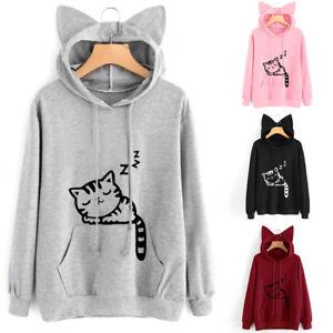Women Hoodie Cat Ear Sweatshirt Hooded Long Sleeve Casual Spring Fall Pullover