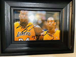 Shaquille o'neal & Kobe Bryant Framed Autographed / Signed Picture.  No COA