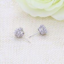 """9k 9ct White """"GOLD FILLED"""" Ladies White Stone Lovely stud Earrings. 9mm,  Gift"""""""