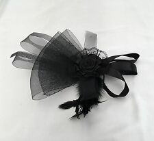 F208 Large Black Headband Hat Fascinator Weddings Ladies Day Race Royal Ascot