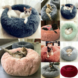 Round bed for cat Dog Comfortable Sleeping Calming Bed Warm Soft Plush