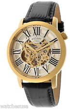 Rotary Mens Champagne Dial  Black Leather Strap  Skeleton Watch GLE000016/09