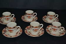 ANTIQUE BOURNE & LEIGH POTTERY ENGLAND OLD DERBY PATTERN SIX DEMITASSE CUPS AND