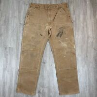 Vintage Carhartt Distressed Double Knee Brown Duck Canvas Work Pants Size 40X34