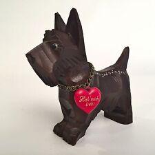 """Vtg German Hand Carved Wood Scottish Terrier Dog Scottie """"Hab Mich Lieb"""" Love Me"""