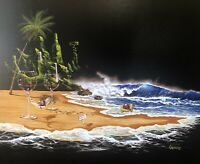 """Michael Godard Enhanced Giclee """"Paradise Private Beach"""" Signed Limited Edition"""