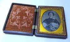 Antique 1840s Daguerreotype Woman's Portrait Photo in Gutta-Percha Union Case