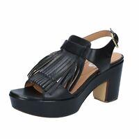 scarpe donna SHOCKS sandali nero pelle BY400