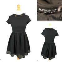 TOPSHOP PETITE Women's Black Bird Collar Fit & Flare Flippy Dress Size UK 8