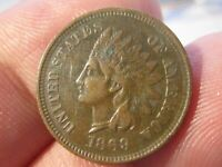 1869 Indian Head Cent Penny - Key Date - Extra Fine Cond   Lot# 2021-18