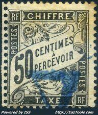 FRANCE TAXE 50c NOIR N° 20 AVEC OBLITERATION BLEUE COTE 240 €