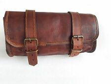 Brown Motorcycle Saddlebag Roll Barrel Bag Storage Leather Tool Pouch