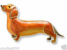 Zarah Brown Dachshund Dog Pin 925 Sterling Silver Enamel Tan Puppy Gift Boxed