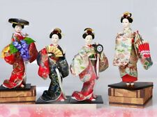 Set of 4 Japanese Geisha Kimono Traditional Asian Doll Figurine Figure New Decor