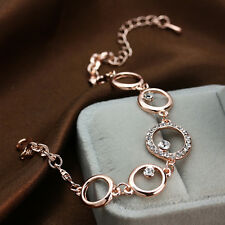 9k Rose Gold Plated Women Girls Rings zircon Cuff Bangle Bracelet Jewelry GIft