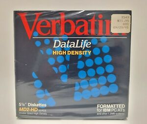 "Verbatim 5.25"" Diskettes MD2-HD 10-pack NEW SEALED"