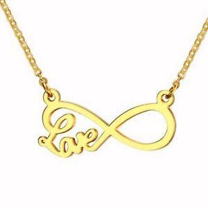 Top Damen Edelstahl Halskette mit Infinity Herz Love Liebe Anhänger - vergoldet
