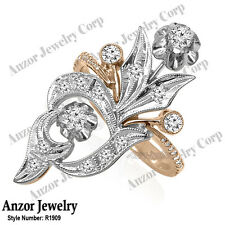 Diamond Ring Russian Style Jewelry #R1909 14k Solid Rose & White Gold Genuine