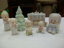 Precious Moments Figurines. Complete Family Christmas Scene 7 pc. No bx. 1985