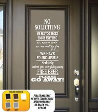 NO Soliciting free beer we found Jesus vinyl wall lettering quote decal funny