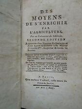 DES MOYENS DE S'ENRICHIR PAR L'AGRICULTURE, 1804 + ELEMENS D'AGRICULTURE, 1795.