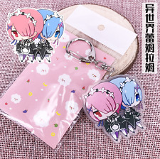 Cute Key chain Anime Re Zero Rem Ram Emilia Unisex key ring Bag Mini Decor Coser