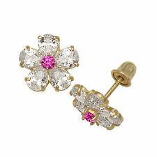 Created Diamond Ruby Flower Stud Baby Girls Screwback Earrings 14k Yellow Gold