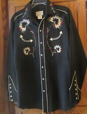 Vintage H BAR C California RanchWear embroidered Rockabilly Western Rodeo Shirt