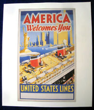 UNITED STATES LINES 1930s Poster (Reproduction) -- MANHATTAN / WASHINGTON