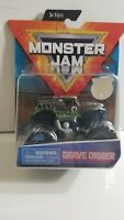 SPIN MASTER 2019 MONSTER JAM GRAVE DIGGER OVER CAST W/GRAY FIGURE & POSTER NEW!