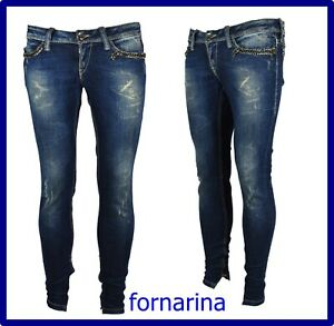 fornarina jeans da donna pantaloni avita bassa elasticizzati slim skinny fit 44