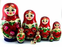 Matroschka puppe Russishe Babuschka Matrjoschka Steckpuppen Holz Original 9 tlg