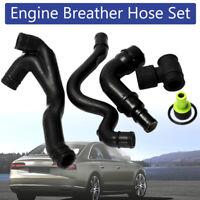 6x Black Engine Crankcase Breather Hose Pipe Set For VW Golf Jetta Audi TT 1.8T