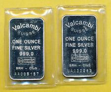 2 Silberbarren 1 Oz..,zus. 62,2g fein, Valcambi-Suisse