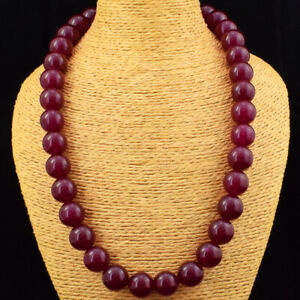 Exclusive 920.00 Cts Earth Mined Red Ruby Round Shape Beads Necklace JK 41E174