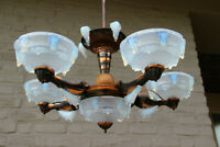 ART DECO 1930 EZAN SABINO Signed opalescent Glass Chandelier
