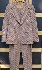 Unusual 70's or 80's Mr Dino Tailored Pant Suit- Tan/Red/Navy Plaid, Marked 18