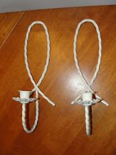 Vintage Lot Set 2 Wire Metal White Votive Candle Sconce Holder Shelf - Homco