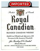 Royal Canadian Blended Canadian Whisky Bottle Label *L6