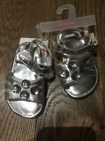 NWT Gymboree Silver Dressy Sandals Size 04 Baby Sell As Is