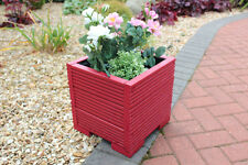 32cm Square Wooden Garden Planter Pot Painted in Valspar Red