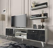 Wohnwand Weiß Wohnzimmerschrank modern TV Lowboard Holz Schrankwand massiv 4692