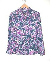 Cotswold Collections Blouse Navy and Pink Flowers Blouse Size 10-12 Brand New